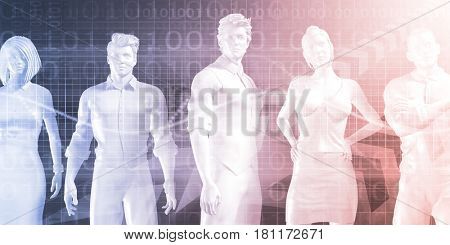 Confident Successful Business Team Standing on Technology Background 3D Illustration Render