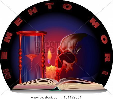 Vector image of a skull, a candle, a book, an hourglass and the inscription of Memento Mori.