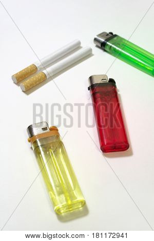 Multicolored disposable flint gas lighters and filter cigarettes