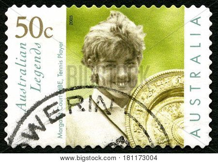 AUSTRALIA - CIRCA 2003: A used postage stamp from Australia celebrating Australian Legends with an image of Aussie Tennis legend Margaret Court circa 2003. Court won 192 titles in her career.