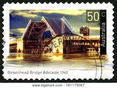 AUSTRALIA - CIRCA 2004: A used postage stamp from Australia depicting an image of Birkenhead Bridge in Adelaide Australia circa 2004.