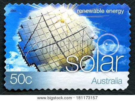 AUSTRALIA - CIRCA 2004: A used postage stamp from Australia promoting Solar Energy - a renewable energy source circa 2004.