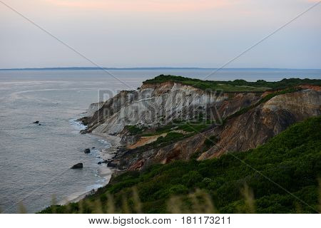 Gay Head cliffs of clay at the westernmost point of Martha's Vineyard in Aquinnah, Massachusetts, USA.