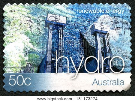 AUSTRALIA - CIRCA 2004: A used postage stamp from Australia promoting Hydro Energy - a renewable energy source circa 2004.