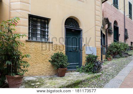 Green wooden door in house at Portofino town, Italy
