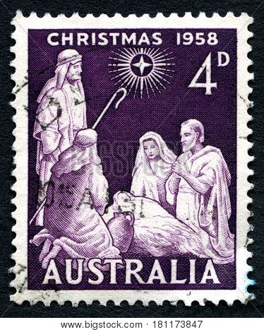 AUSTRALIA - CIRCA 1958: A used postage stamp from Australia depicting a biblical scene to commemorate Christmas circa 1958.