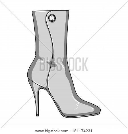 Demi tall womens boots high heel.Different shoes single icon in monochrome style vector symbol stock web illustration.
