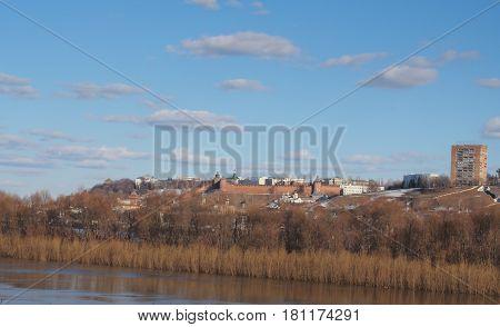 Views of Nizhny Novgorod Kremlin. Spring landscape. The confluence of the Oka and Volga.