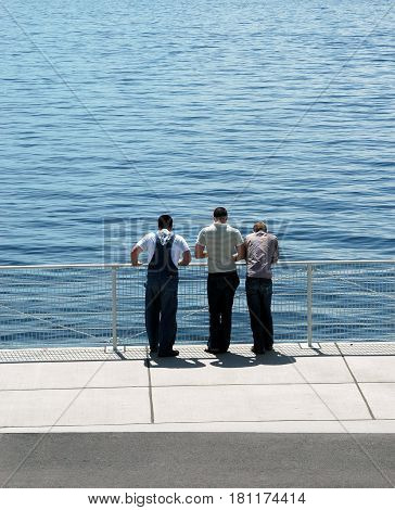 Three male friends meeting and talking outdoors by the lake.