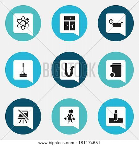 Set Of 9 Editable Cleanup Icons. Includes Symbols Such As Drainpipe, Mopping, Power And More. Can Be Used For Web, Mobile, UI And Infographic Design.