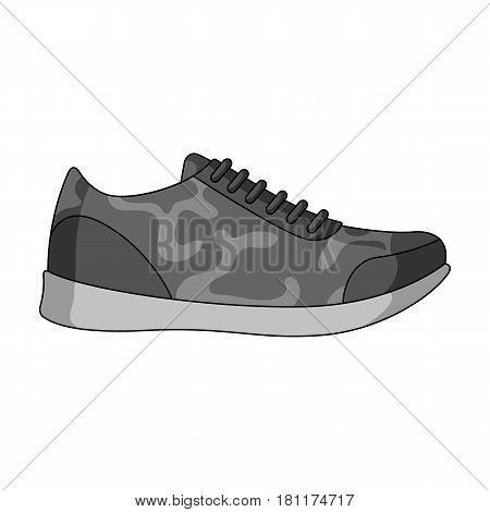 Rag camouflage sneakers for everyday wear.Different shoes single icon in monochrome style vector symbol stock web illustration.