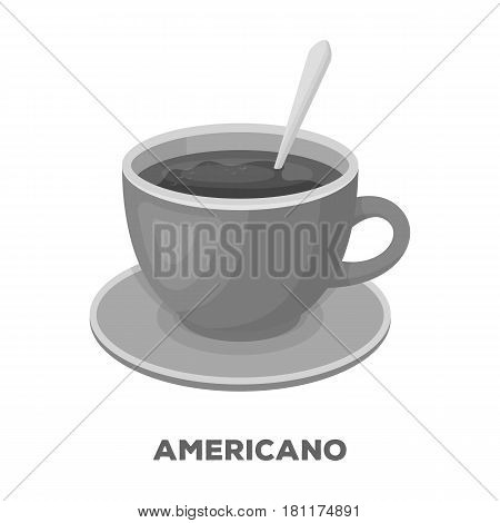 Coffee cup americano.Different types of coffee single icon in monochrome style vector symbol stock illustration .