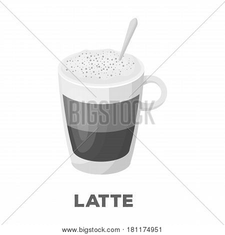 A cup of latte.Different types of coffee single icon in monochrome style vector symbol stock illustration .