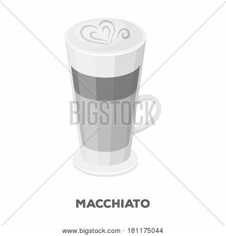 Cup of coffee macchiato with foam. Different types of coffee single icon in monochrome style vector symbol stock illustration .