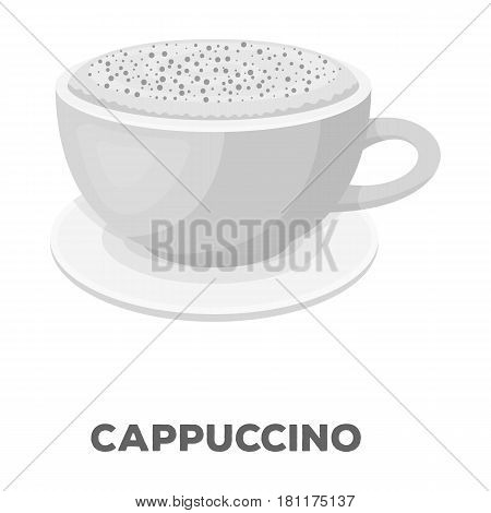 Cup of cappuccino.Different types of coffee single icon in monochrome style vector symbol stock illustration .