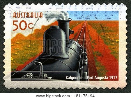 AUSTRALIA - CIRCA 2004: A used postage stamp from Australia commemorating the train service between Kalgoorlie and Port Augusta circa 2004.