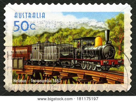 AUSTRALIA - CIRCA 2004: A used postage stamp from Australia commemorating the train service between Helidon and Toowoomba circa 2004.