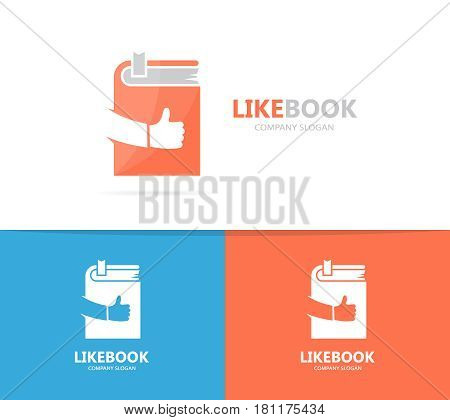Vector of book and like logo combination. Library and best symbol or icon. Unique encyclopedia and bookstore logotype design template.