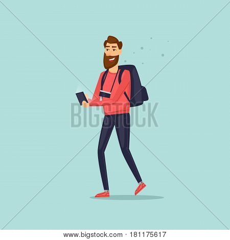 Navigation tourist is guided in an unfamiliar place with help phone. Vector illustration flat style.