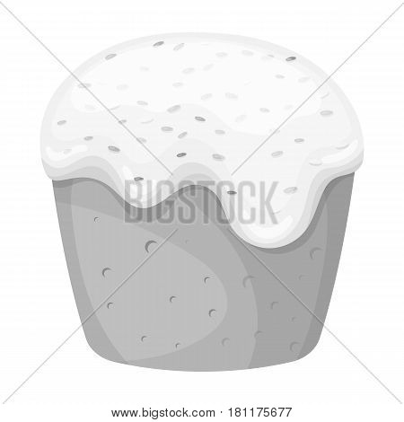 Cake with white fondant. Easter single icon in monochrome style vector symbol web stock illustration.