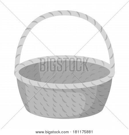 Wicker basket made of twigs. Easter single icon in monochrome style vector symbol stock web illustration.
