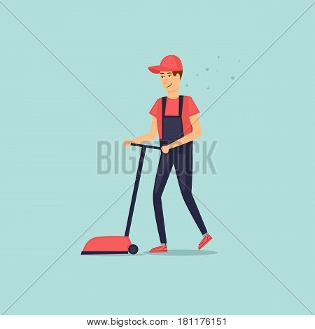 Cleaning company character with cleaning equipment. Scrubber. Vector illustration flat style.
