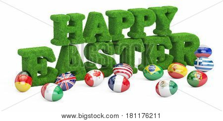 Happy Easter concept grassy inscription with eggs. 3D rendering isolated on white background