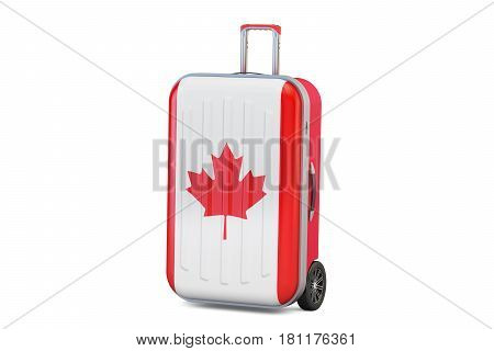 Canada travel concept suitcase with Canadian flag. 3D rendering