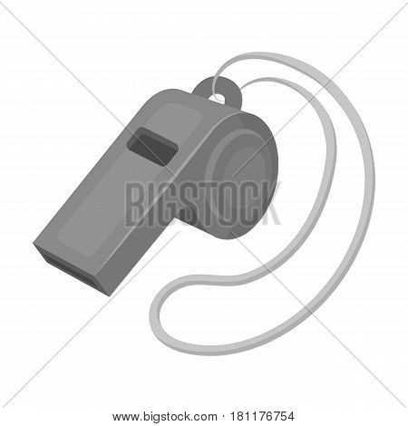 Whistle football fan.Fans single icon in monochrome  vector symbol stock illustration.