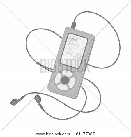 MP player for listening to music during a workout.Gym And Workout single icon in monochrome style vector symbol stock web illustration.