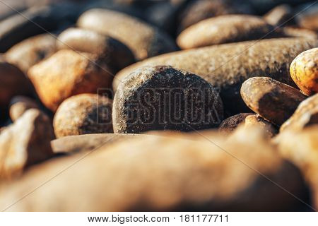 Close-up of rounded stones on sea coast in rays of sunset sun, selective focus