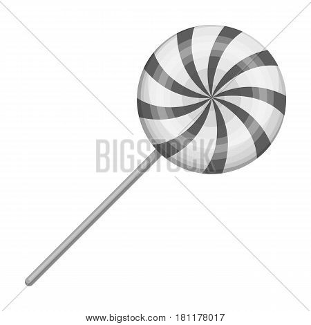 Sweet candy on a stick.Party and parties single icon in monochrome style vector symbol stock web illustration.