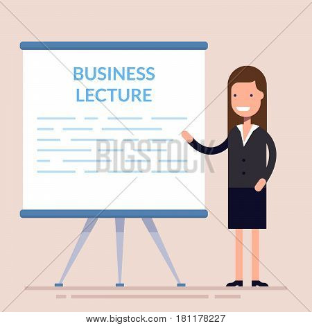 Businesswomen present with board. Cute woman character present about business lecture. Woman in a business suit. Flat character