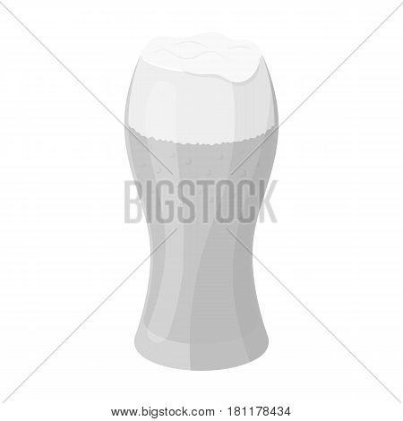 A glass of wheat beer with foam.Alcoholic beverage to relax. Pub single icon in monochrome style vector symbol stock web illustration.
