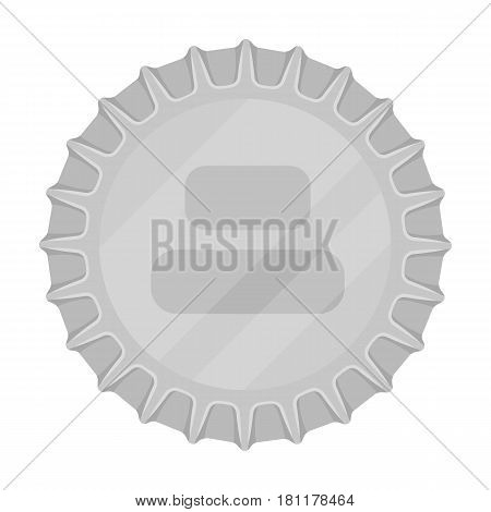 Metal beer cap.Lid for closing bottles . Pub single icon in monochrome style vector symbol stock web illustration.