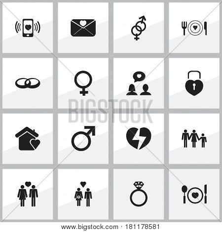Set Of 16 Editable Heart Icons. Includes Symbols Such As Sexuality, Lineage, Family And More. Can Be Used For Web, Mobile, UI And Infographic Design.