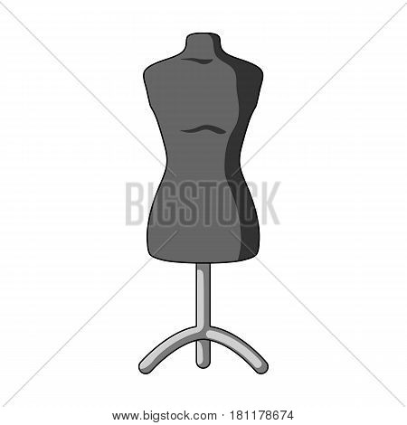Plastic dummy on the stand.Sewing or tailoring tools kit single icon in monochrome style vector symbol stock web illustration.