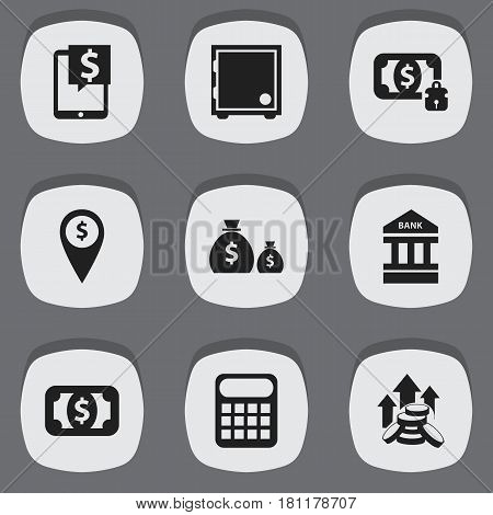 Set Of 9 Editable Banking Icons. Includes Symbols Such As Treasure, Currency, Bank Location And More. Can Be Used For Web, Mobile, UI And Infographic Design.