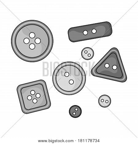 Buttons for clothes.Sewing or tailoring tools kit single icon in monochrome style vector symbol stock web illustration.