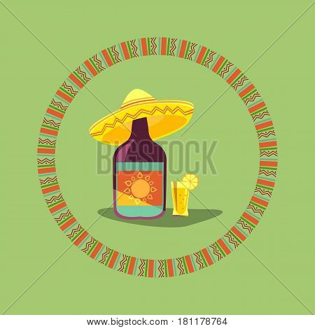 Tequila icon. Mexican poster concept. Fancy flat style. Round decorative ornate frame. Bottle, shot glass alcohol, lime lemon. Sombrero traditional symbol of Mexico. Vector fiesta emblem background