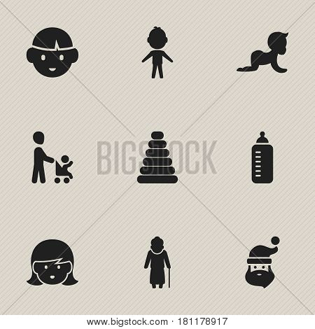 Set Of 9 Editable Kin Icons. Includes Symbols Such As Grandmother, Baby Bottle, Boy. Can Be Used For Web, Mobile, UI And Infographic Design.