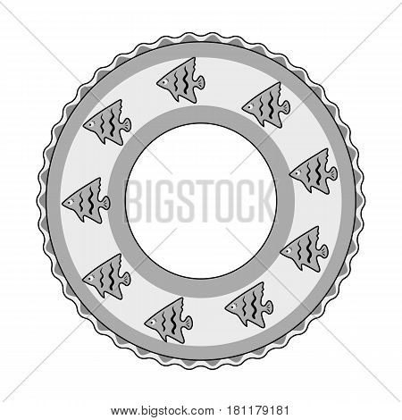 Rescue swimming circle.Summer rest single icon in monochrome style vector symbol stock web illustration.