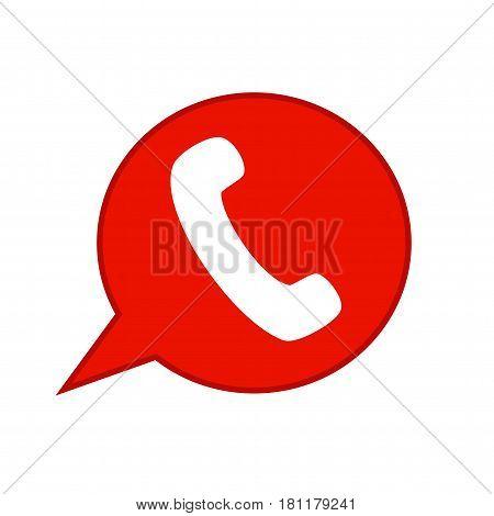 Phone icom. Red phone icon on white background.