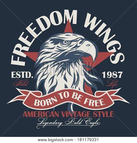 Eagle head logo for t-shirt, Hawk mascot Sport wear typography emblem graphic, athletic apparel stamp. Portrait of a bald eagle. Vector