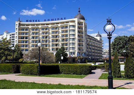 GOLDEN SANDS, BULGARIA - April 10, 2017 GOLDEN SANDS Hotel Admiral