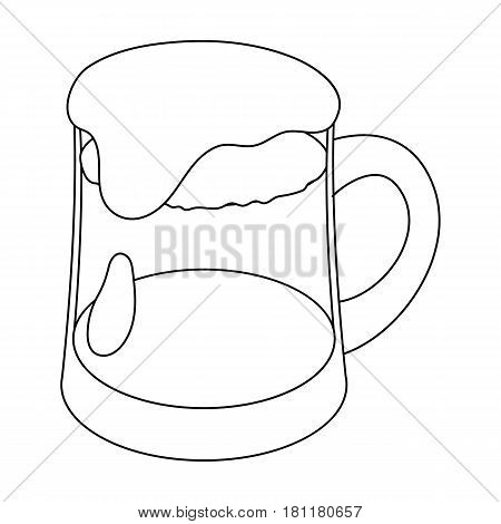 A glass of foamy Belgian beer.The dark Belgian wolf. Belgium single icon in outline style vector symbol stock web illustration.