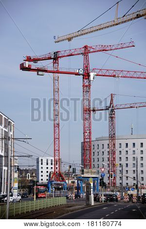MAINZ, GERMANY - MARCH 24: Road construction sites and petrol station construction sites with cranes on the Binger Street in the city center on March 24 2017 in Mainz.