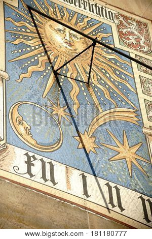 FRANKFURT, GERMANY - JANUARY 05: A historical sundial with various drawings of coat of arms zodiacal signs and heavenly bodies on January 05 2017 in Frankfurt.
