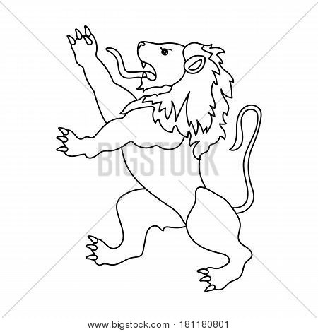 Golden lion symbol of belgium.The dark Belgian wolf. Belgium single icon in outline style vector symbol stock web illustration.