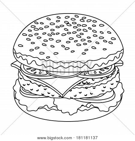 Ready burger with all the ingredients.Burgers and ingredients single icon in outline style vector symbol stock web illustration.